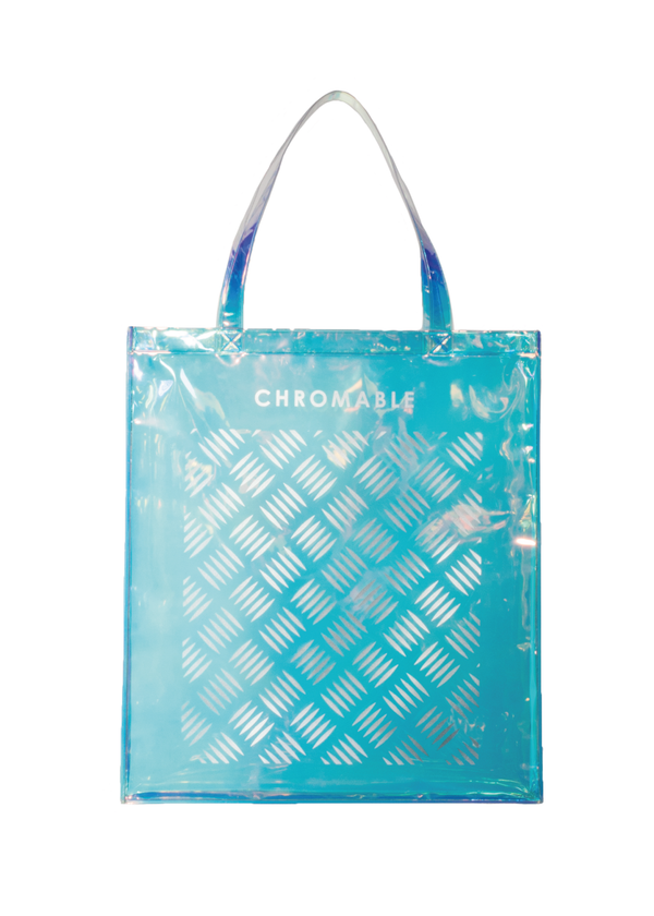 Chromatic Tote Bag - Blue/iridescent - Front - CHROMABLE Paris SS19 - Iridescent and blue unisex tote bag