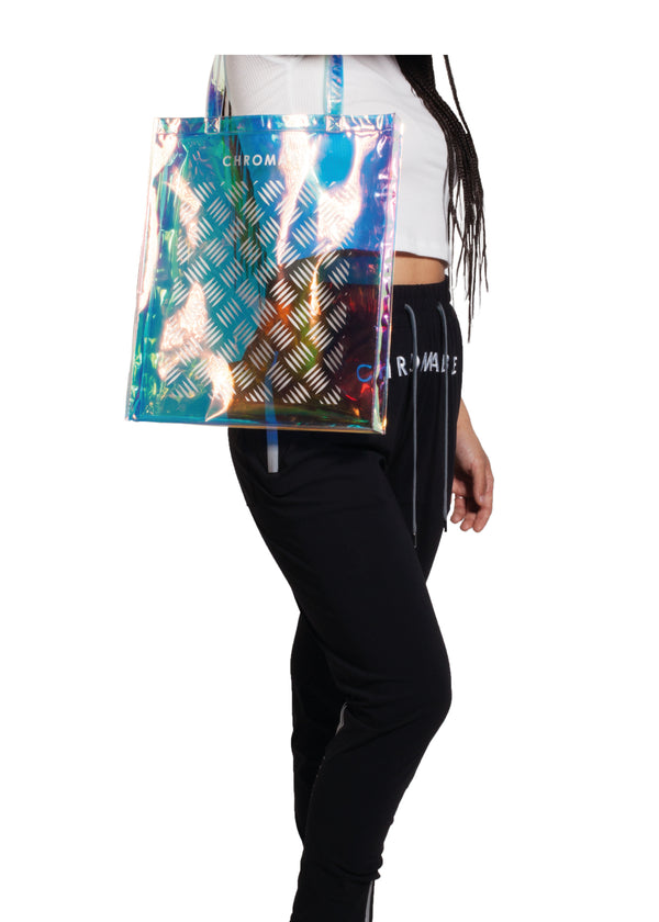Chromatic Tote Bag - Blue/iridescent - Women Look - CHROMABLE Paris SS19 - Iridescent and blue unisex tote bag