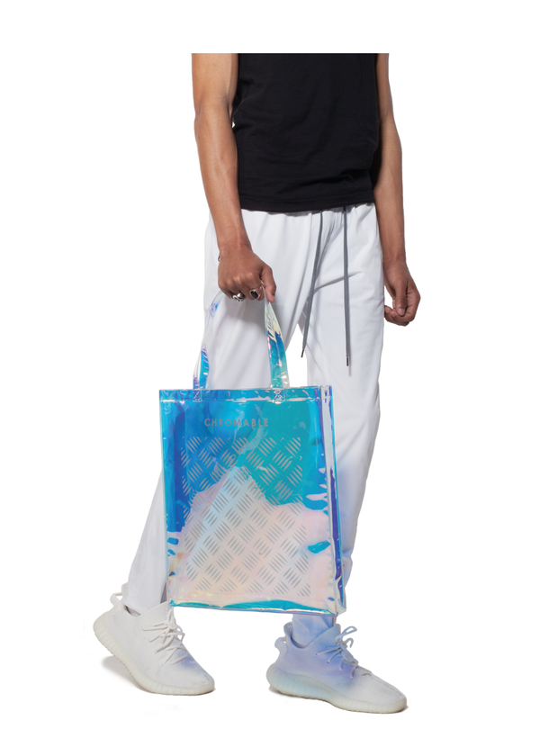 Chromatic Tote Bag - Blue/iridescent - Men Look - CHROMABLE Paris SS19 - Iridescent and blue unisex tote bag
