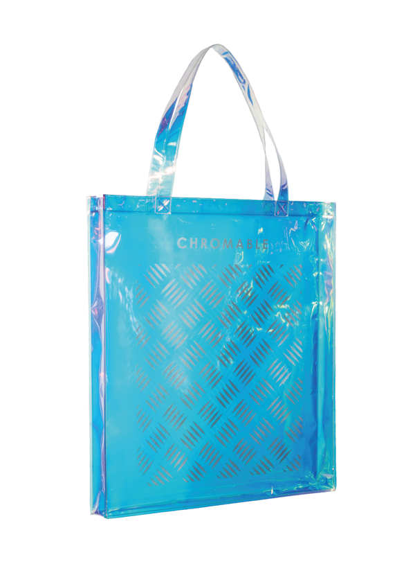 Chromatic Tote Bag - Blue/iridescent - Side - CHROMABLE Paris SS19 - Iridescent and blue unisex tote bag