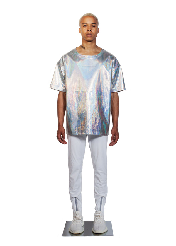 Chromatic T-shirt - Full Men Look - CHROMABLE Paris SS19 - Iridescent and chrome unisex t-shirt