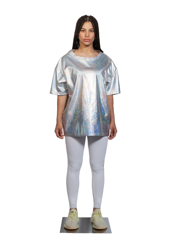 Chromatic T-shirt - Full Women Look - CHROMABLE Paris SS19 - Iridescent and chrome unisex t-shirt