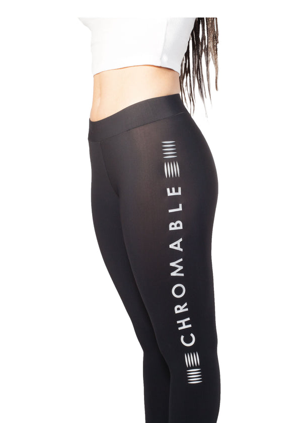 Logo Print Leggings - Black - Details - CHROMABLE Paris SS19 - Black leggings with slight transparency