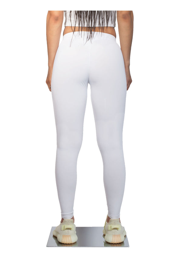 Logo Print Leggings - White - Back - CHROMABLE Paris SS19 - White leggings with slight transparency