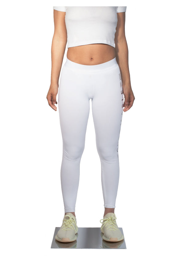 Logo Print Leggings - White - Front - CHROMABLE Paris SS19 - White leggings with slight transparency