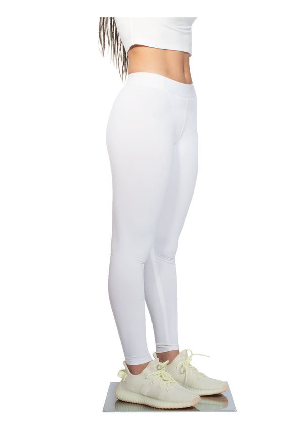 Logo Print Leggings - White - Side - CHROMABLE Paris SS19 - White leggings with slight transparency