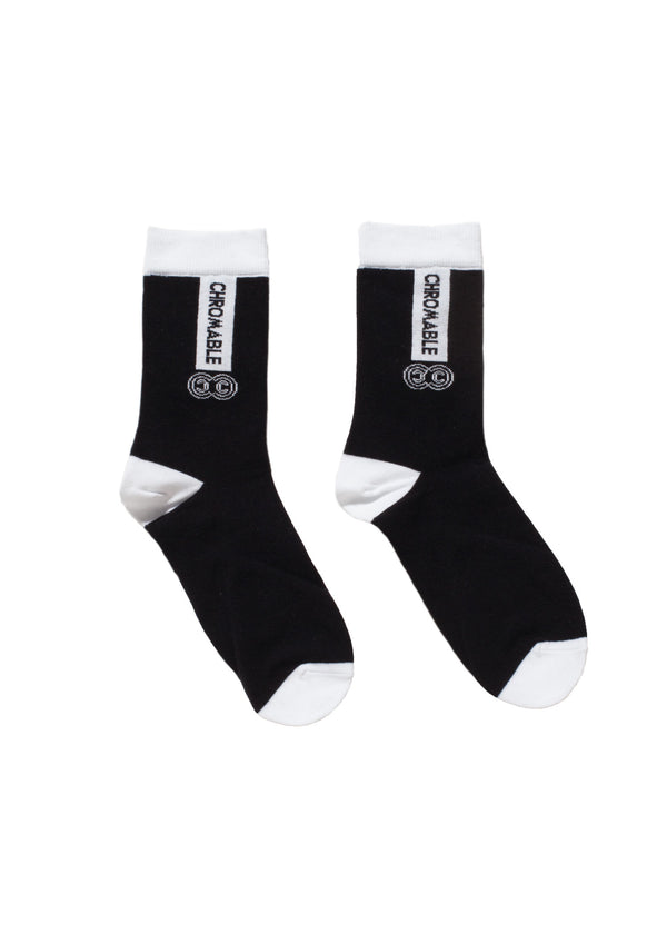 Signature Socks - Black/White - Side - CHROMABLE Paris SS19 - Black and white unisex calf-high socks