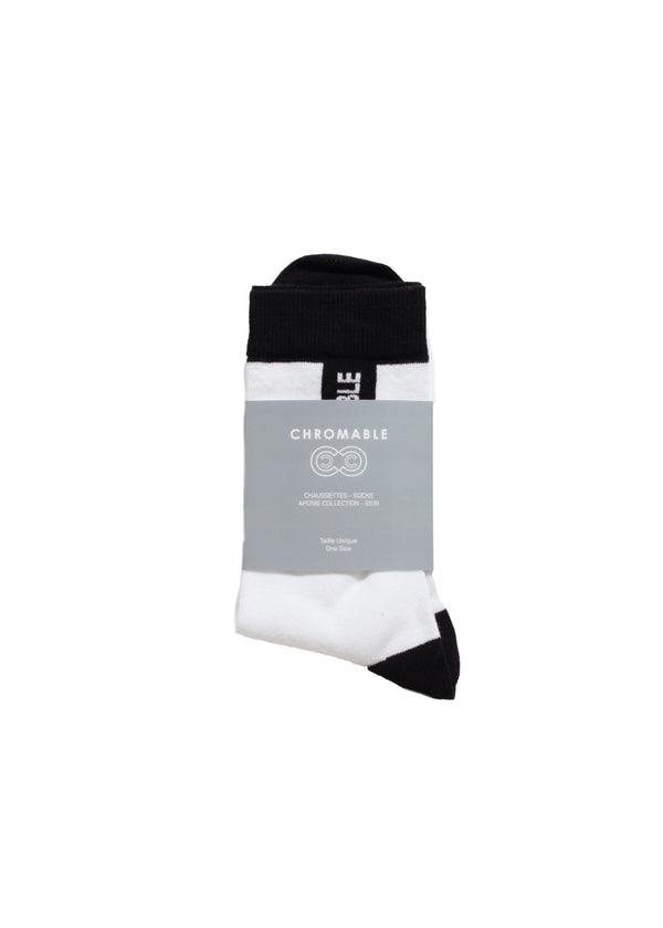 Signature Socks - White/Black - Packaging - CHROMABLE Paris SS19 - White and black unisex calf-high socks