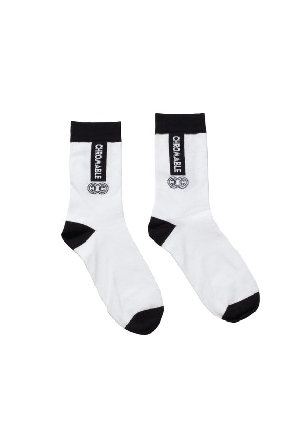 Signature Socks - White/Black - Side - CHROMABLE Paris SS19 - White and black unisex calf-high socks
