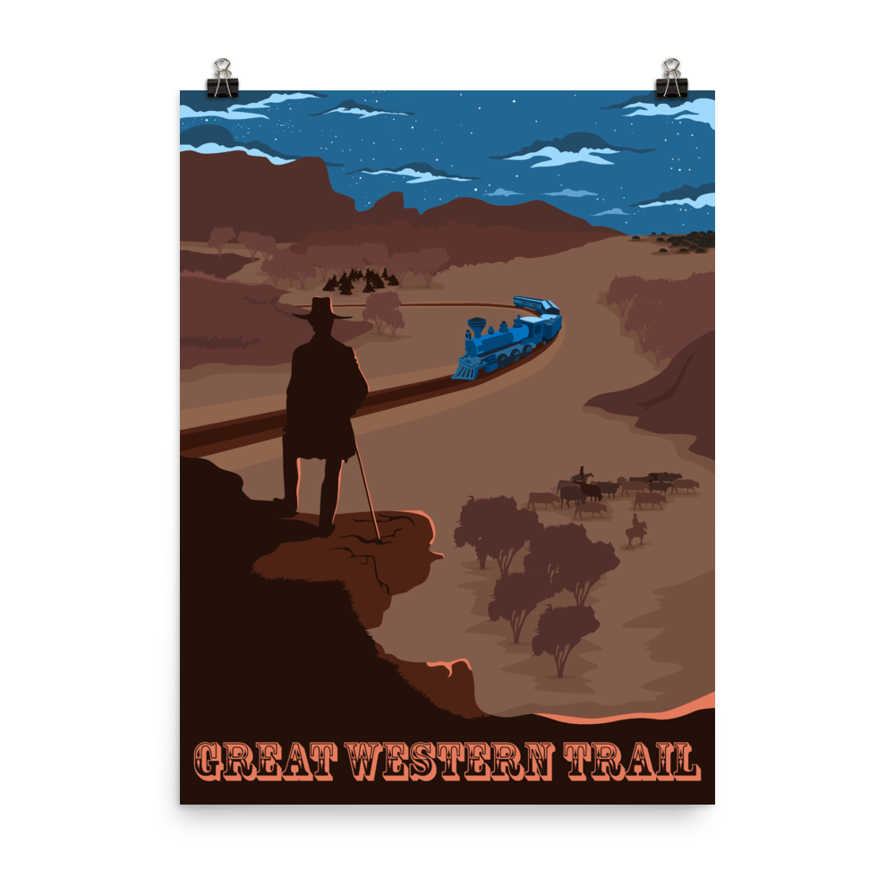 Great Western Trail Board Game Poster - Minimalist Travel Poster - Gaming Art