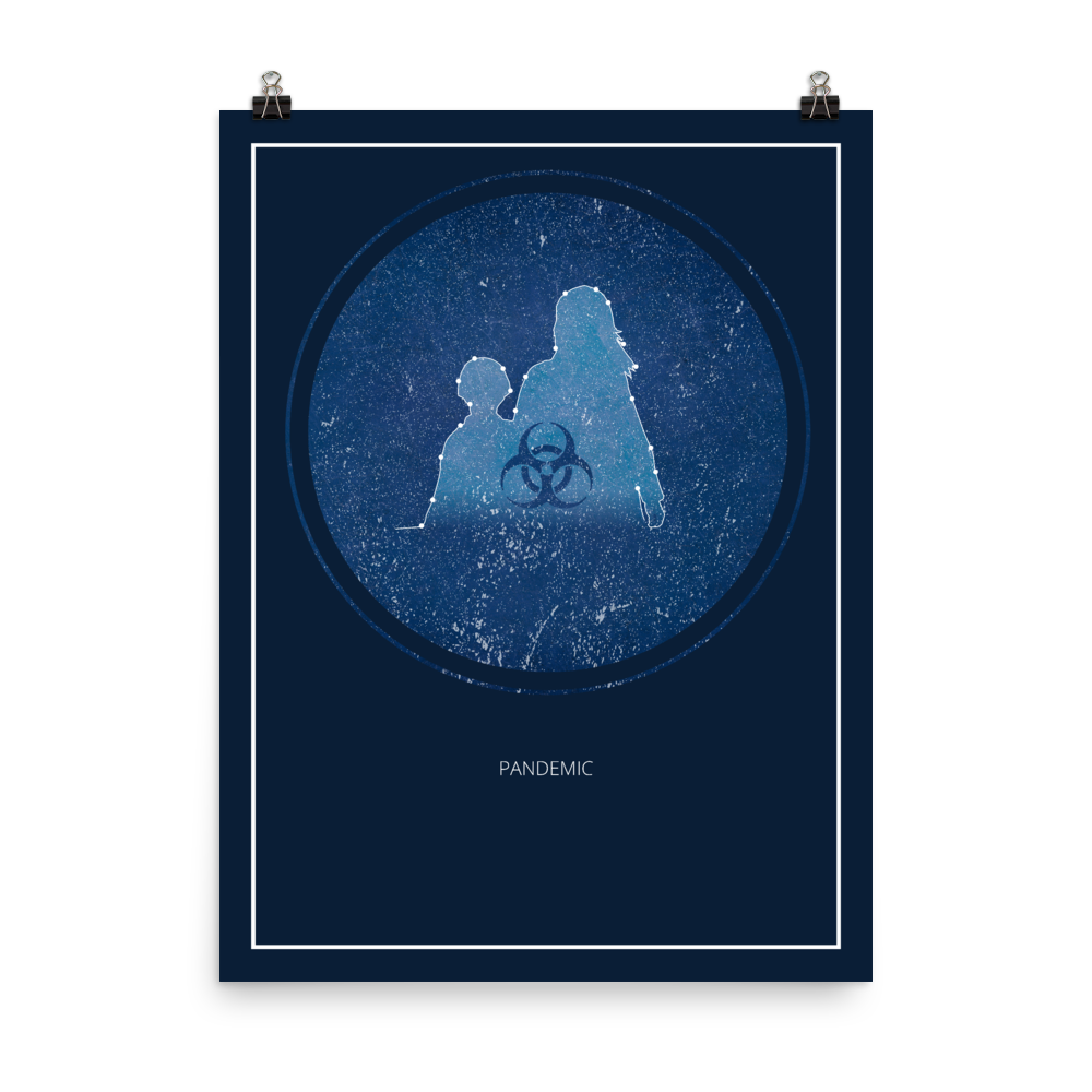 Pandemic Board Game Blue Star Constellation Art Poster