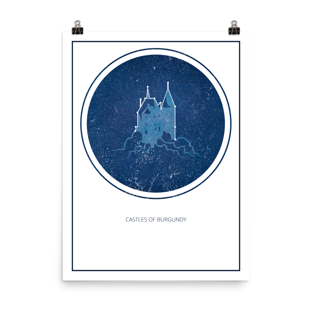 The Castles of Burgundy Board Game White Star Constellation Art Poster