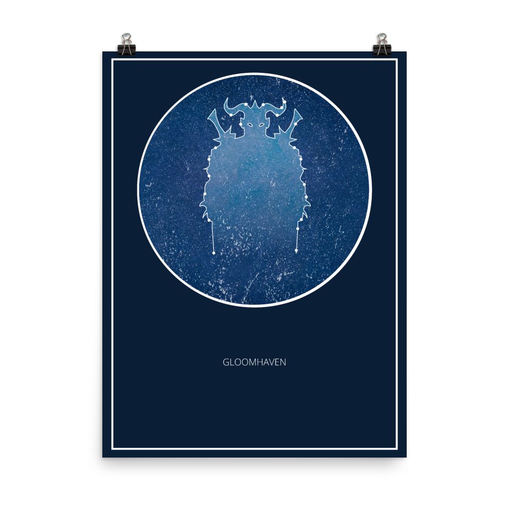 Gloomhaven Board Game Blue Star Constellation Art Poster