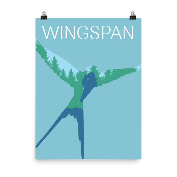 Wingspan Board game Bird Watcher Silhouette Art Poster