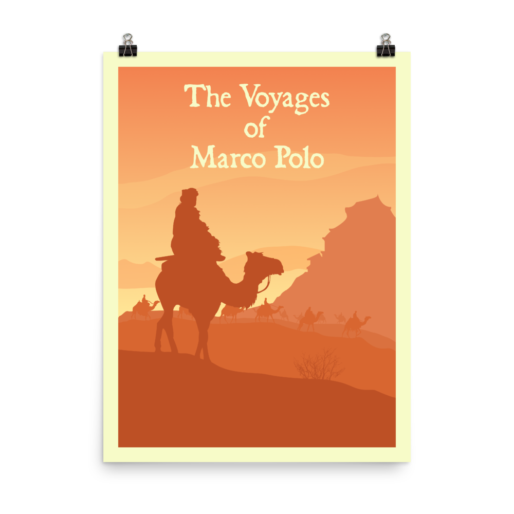 The Voyages of Marco Polo Minimalist Board Game Art Poster
