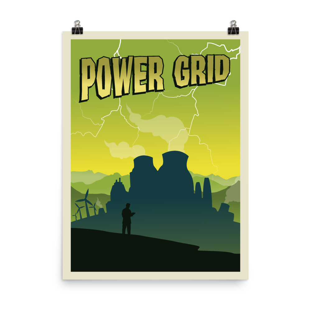 Power Grid Minimalist Board Game Art Poster