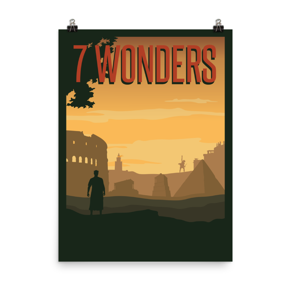 7 Wonders Minimalist Board Game Art Poster