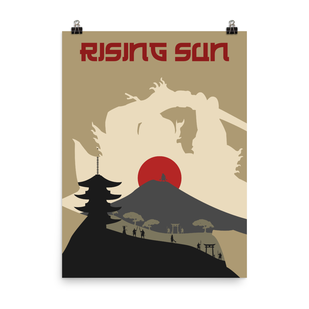 Rising Sun Board game Silhouette Art Poster