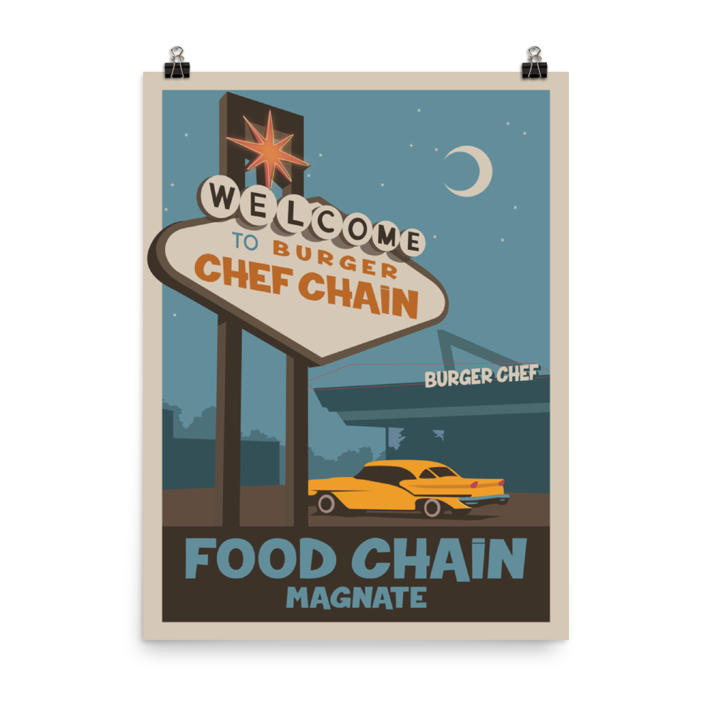 Food Chain Magnate Minimalist Board Game Art Poster