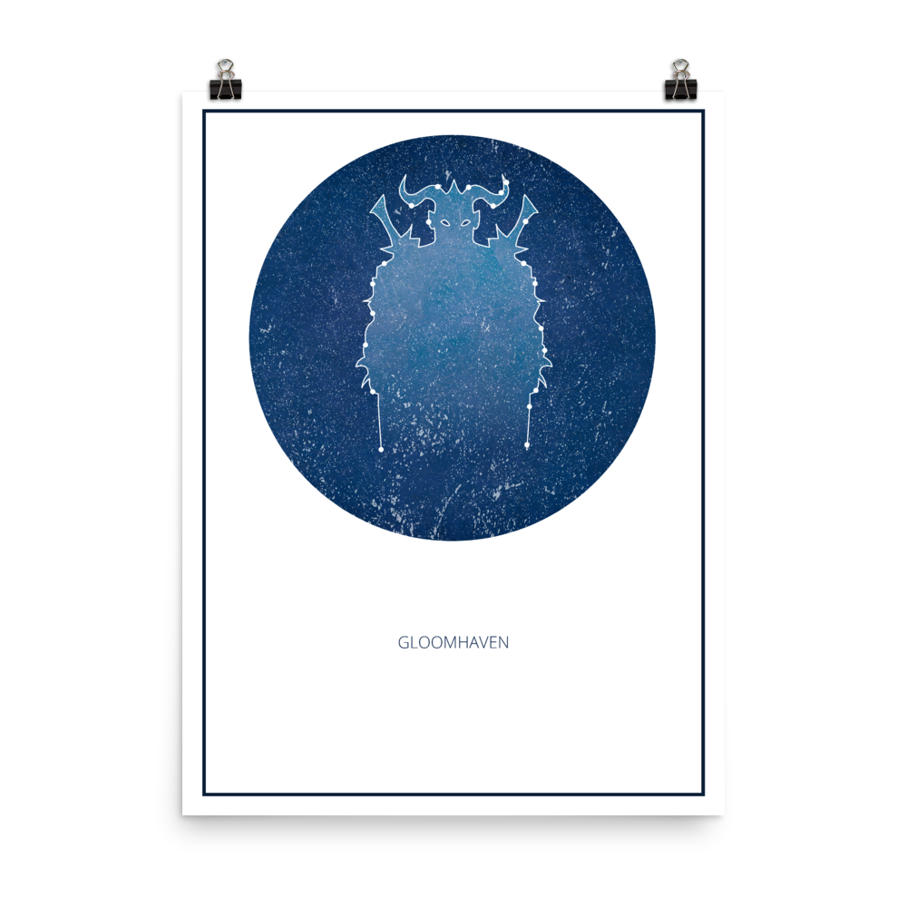 Gloomhaven Board Game White Star Constellation Art Poster
