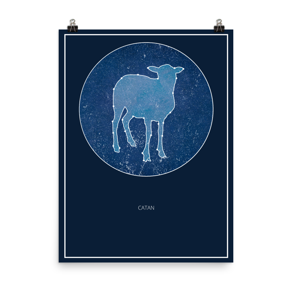 Catan Board Game Blue Star Constellation Art Poster