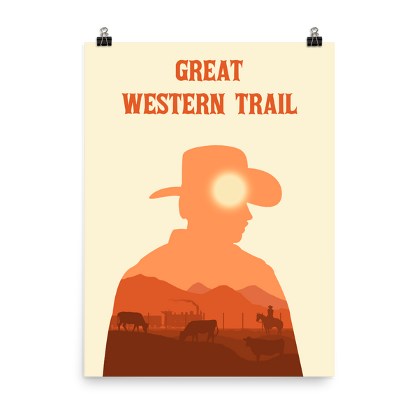 Great Western Trail Board game Silhouette Art Poster