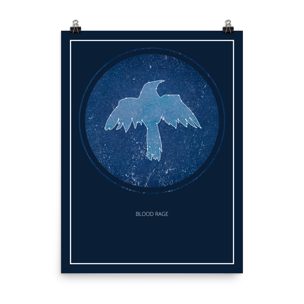 Blood Rage Board Game Blue Star Constellation Art Poster