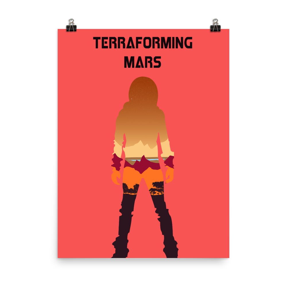 Terraforming Mars Board Game Red Silhouette Art Poster