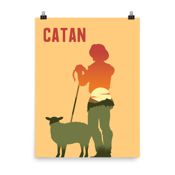Catan Board Game Shepherd Silhouette Art Poster