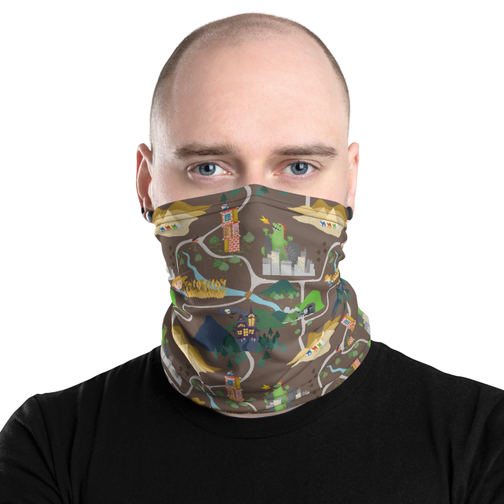 Board Game Map (Brown) Inspired Unisex Neck Gaiter/ Face Mask