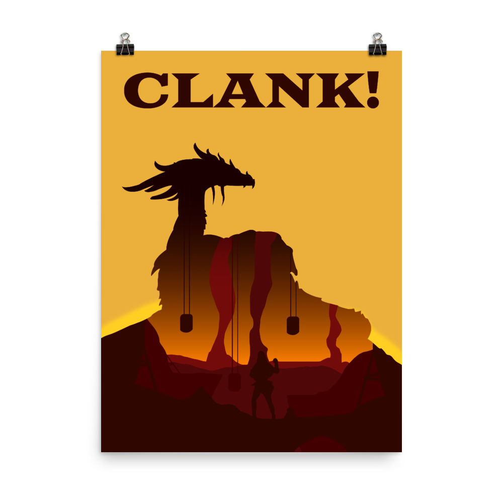 Clank! Board game Silhouette Art Poster