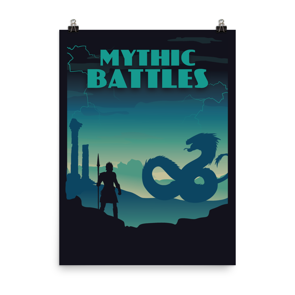Mythic Battles Minimalist Board Game Art Poster