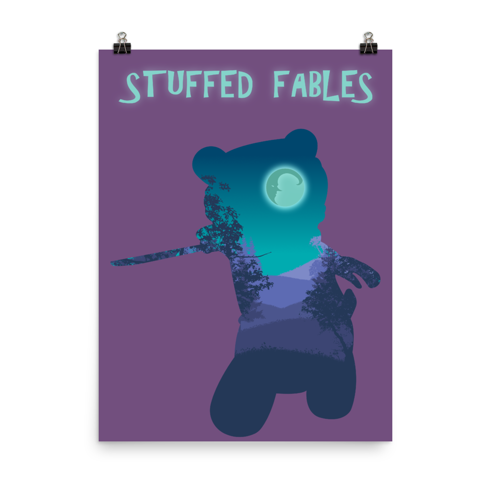 Stuffed Fables Board Game Silhouette Art Poster