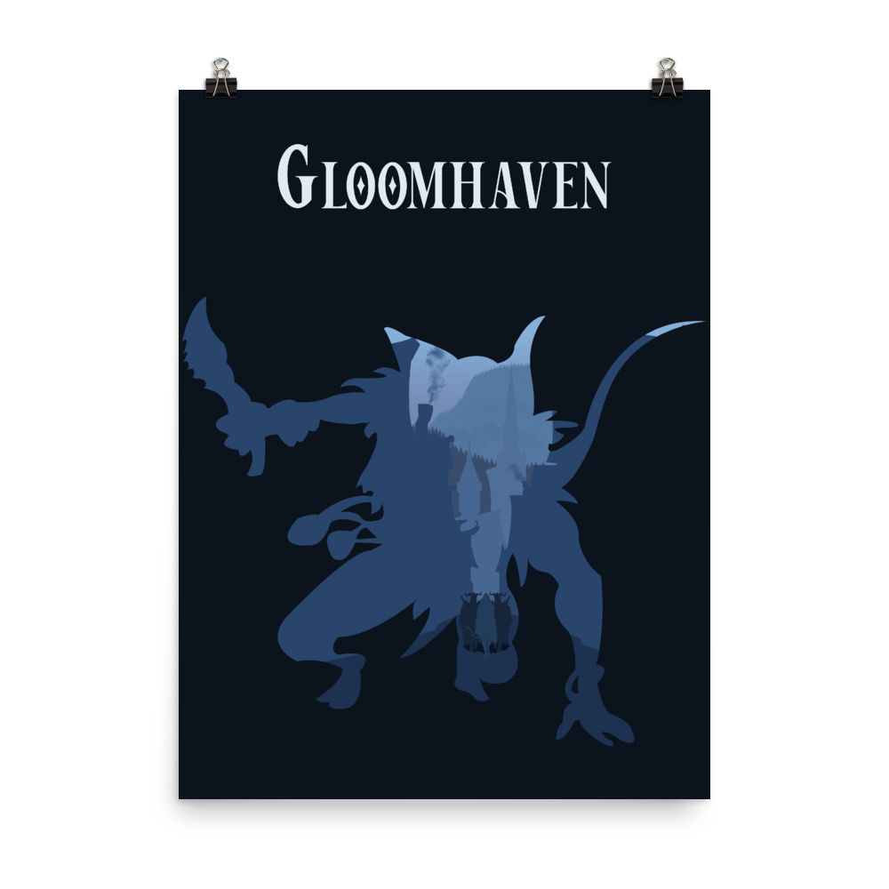 Gloomhaven Board Game Mindthief Silhouette Art Poster