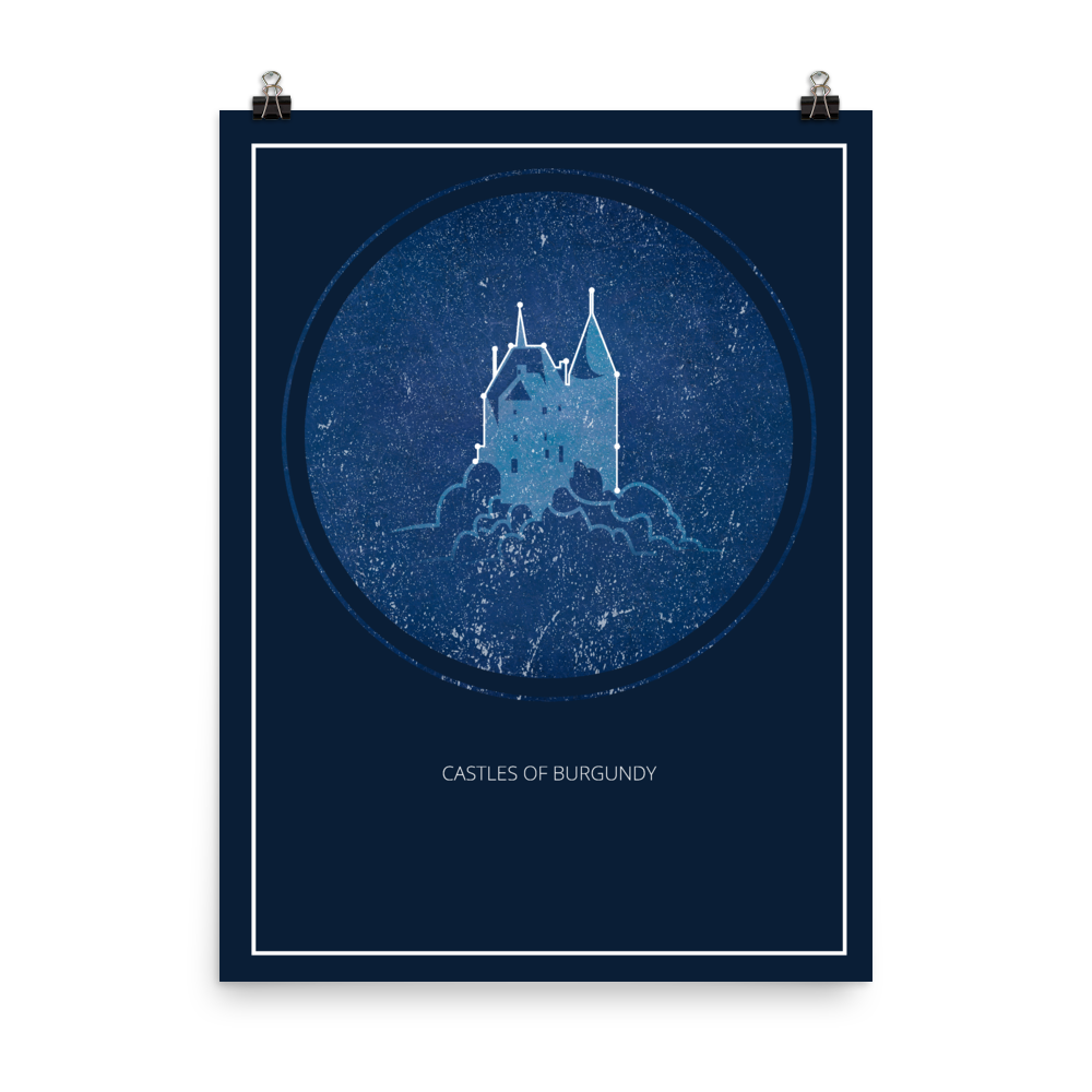 The Castles of Burgundy Board Game Blue Star Constellation Art Poster