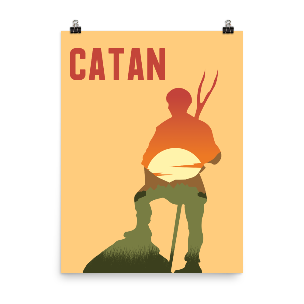 Catan Board Game Farmer Silhouette Art Poster