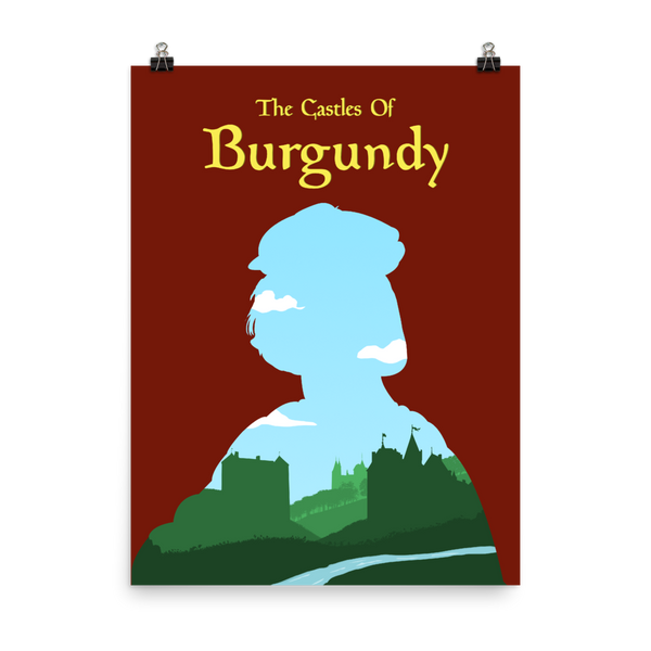 The Castles of Burgundy Board game Silhouette Art Poster