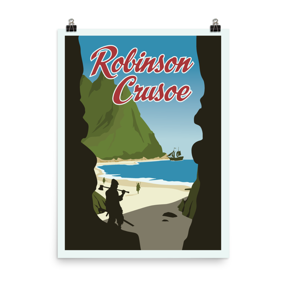 Robinson Crusoe Minimalist Board Game Art Poster