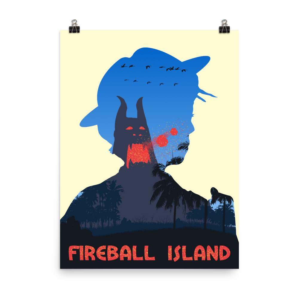 Fireball Island Board Game Silhouette Art Poster