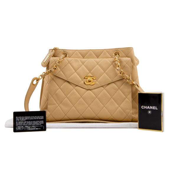 CHANEL Beige Caviar Leather CC Medium Tote Bag
