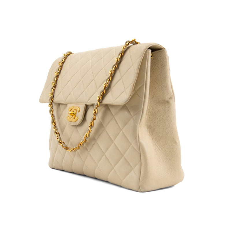 CHANEL Beige Quilted Caviar Leather Jumbo Square Single Flap Bag