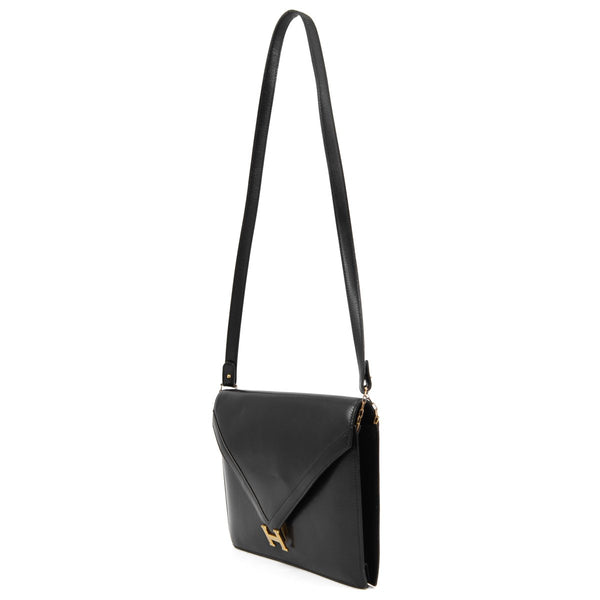 HERMÈS Black Box Leather Lydie Shoulder Bag