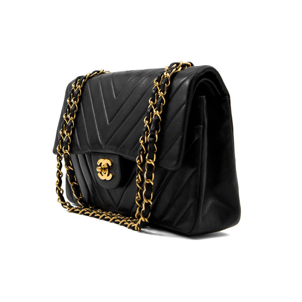CHANEL Black Chevron Lambskin Medium Double Flap Bag