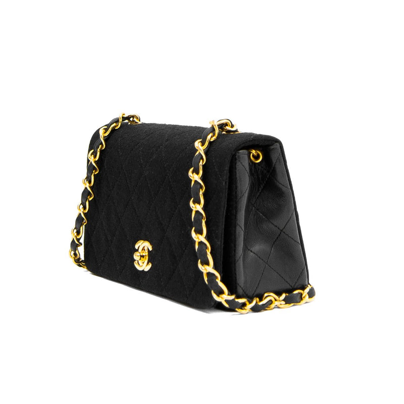 CHANEL Black Quilted Cotton & Lambskin Mini Single Full Flap Bag