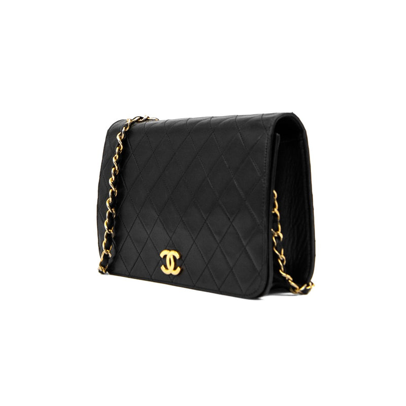 CHANEL Black Quilted Lambskin Medium Single Full Flap Bag
