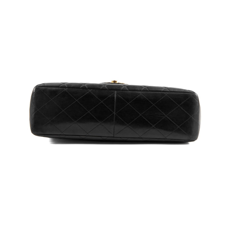 CHANEL Black Quilted Lambskin Jumbo Single Flap Bag