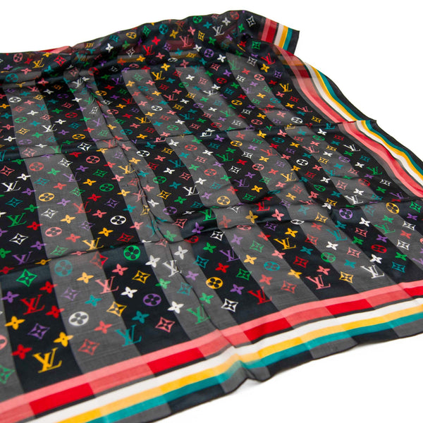 Louis Vuitton 100cm Black Multicolour Monogram Silk Scarf