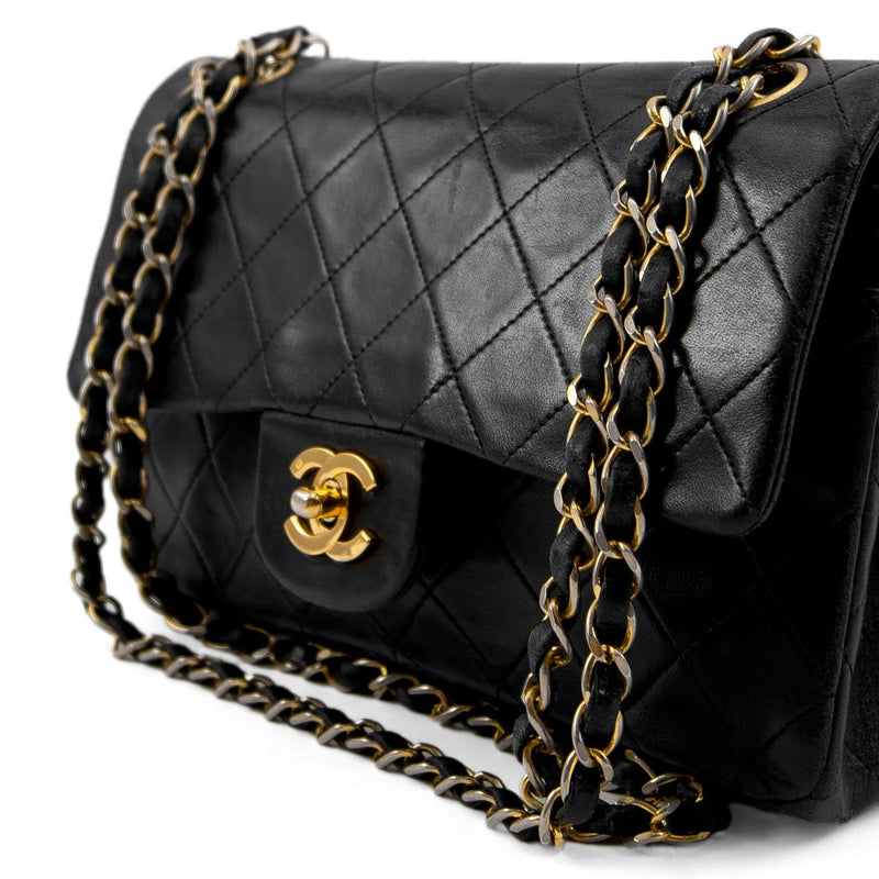 CHANEL Black Quilted Lambskin Classic Small Double Flap Bag