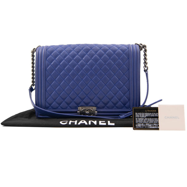CHANEL Blue Quilted Lambskin Large Boy Bag