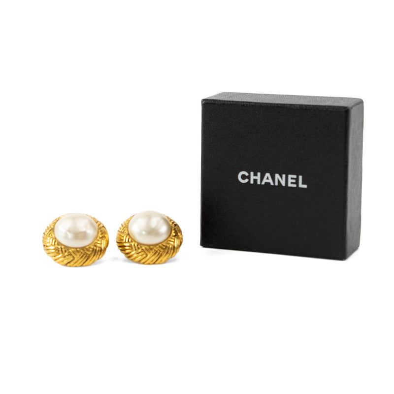CHANEL Braided Gold Pearl Clip-On Earrings